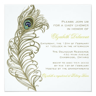 Whimsical Peacock Feather Baby Shower Invitation