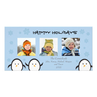 Whimsical Penguins Holiday Photocard (blue) Card