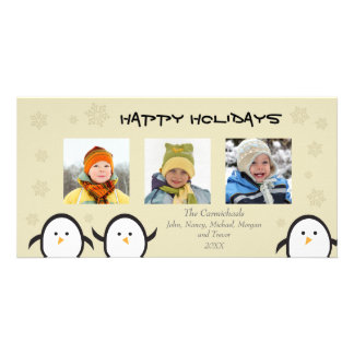 Whimsical Penguins Holiday Photocard (silver) Card