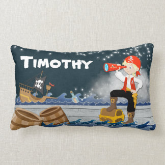Whimsical Personalise Cotton Pirate Boy Dreamscape Lumbar Pillow