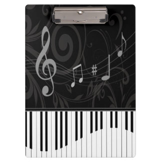 Whimsical Piano and musical notes Clipboard