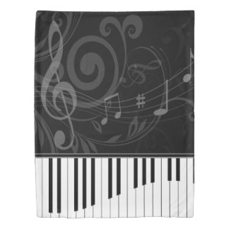 Whimsical Piano and Musical Notes Duvet Cover