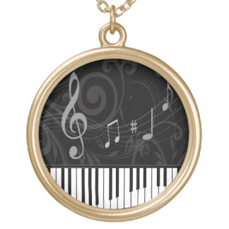 Whimsical Piano and Musical Notes Gold Plated Necklace