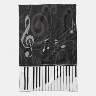 Whimsical Piano and Musical Notes Kitchen Towel