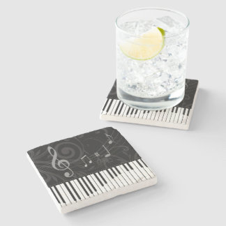 Whimsical Piano and Musical Notes Stone Coaster