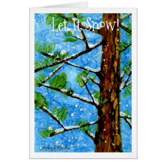 Whimsical pine tree in the snow holiday card