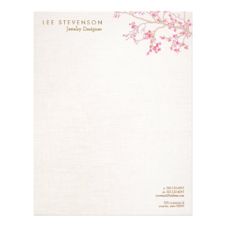 Whimsical Pink Cherry Blossoms Nature Letterhead Template