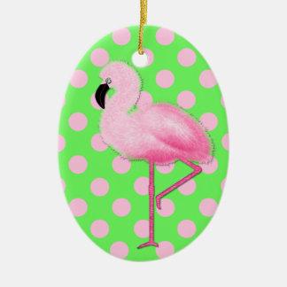 Whimsical Pink Flamingo Christmas Ornament