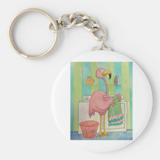 Whimsical Pink Flamingo Does Laundry Cute Keychain