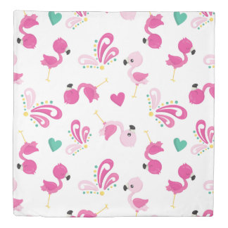 Whimsical Pink Flamingo Pattern Duvet Cover