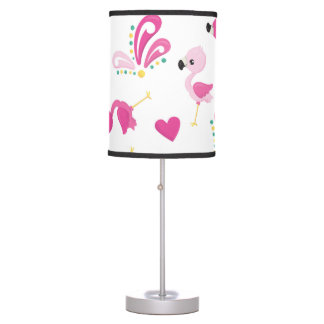 Whimsical Pink Flamingo Pattern Table Lamp