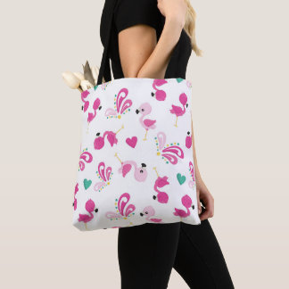 Whimsical Pink Flamingo Pattern Tote Bag