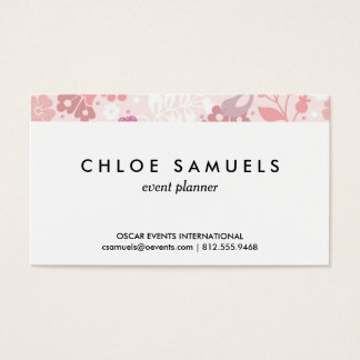 Whimsical Pink Floral Bird Print Girly Blush Pink Business Card