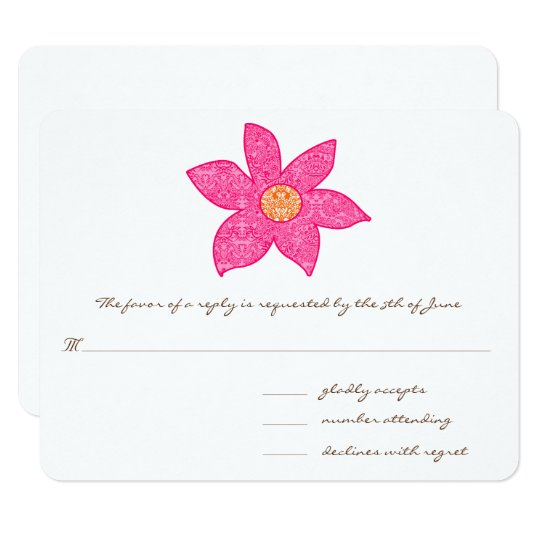Whimsical Pink Flower Wedding Response Cards