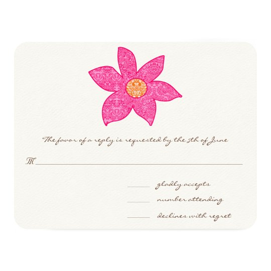 "Whimsical Pink Flower Wedding Response Cards 4.25"" X 5.5"" Invitation Card"