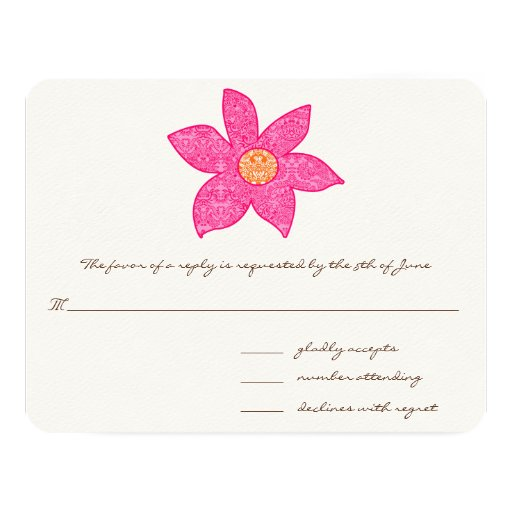 """Whimsical Pink Flower Wedding Response Cards 4.25"""" X 5.5"""" Invitation Card"""