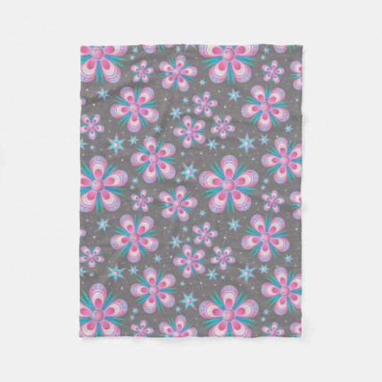 Whimsical Pink Flowers Texture Fleece Blanket