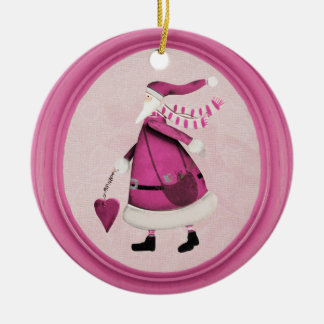 Whimsical Pink Retro Santa Ornament
