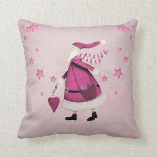 Whimsical Pink Retro Vintage Santa Claus Throw Pillow