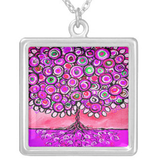 Whimsical Pink Tree Art Pendant Necklace
