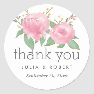 Whimsical Pink Watercolor Floral Wedding Classic Round Sticker