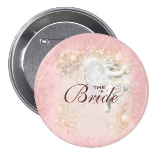 Whimsical pink wedding fairy tale 3 inch round button