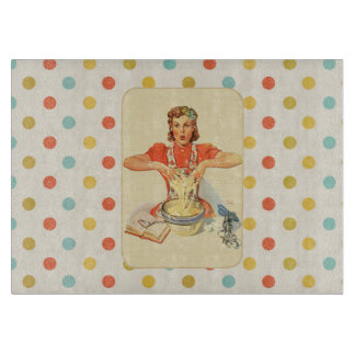 Whimsical Polka Dot Vintage Cook Cutting Boards