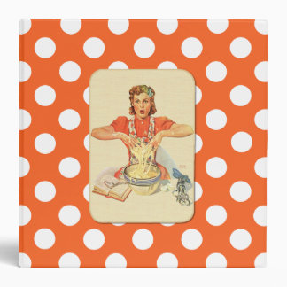 Whimsical Polka Dot Vintage Cook Recipe Organizer 3 Ring Binder