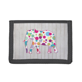 Whimsical Polka dots Elephant Design Tri-fold Wallets