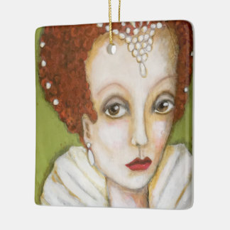 Whimsical Portrait Elizabeth I Royal Tudor Art Fun Ceramic Ornament