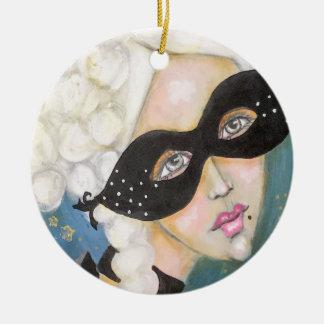 Whimsical Portrait Marie Antionette Artistic Mask Ceramic Ornament