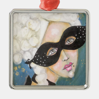 Whimsical Portrait Marie Antionette French Mask Metal Ornament