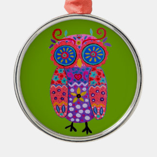 Whimsical Pris Owl Silver-Colored Round Ornament