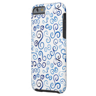 Whimsical Prussian Blue Watercolor Curves Tough iPhone 6 Case