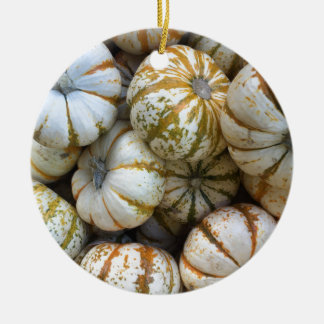 Whimsical Pumpkins Round Ceramic Ornament