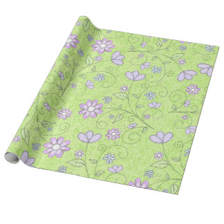 Whimsical Purple Floral Wrapping Paper
