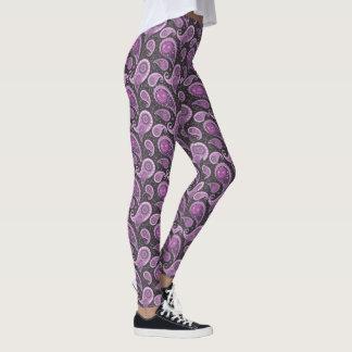 Whimsical Purple Paislies On Black Leggings