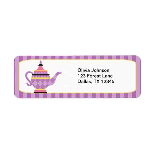 Whimsical Purple Teapot Labels