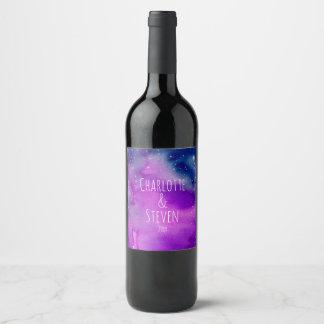 Whimsical Purple Watercolor Sky Wine Label
