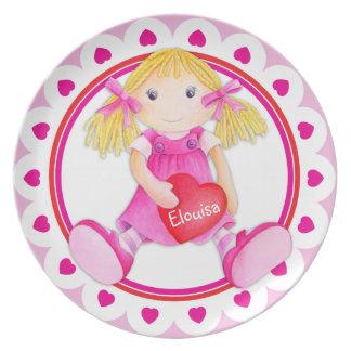 Whimsical rag doll girls add your name kids plate