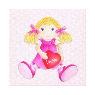 Whimsical rag doll girls add your name nursery art canvas print