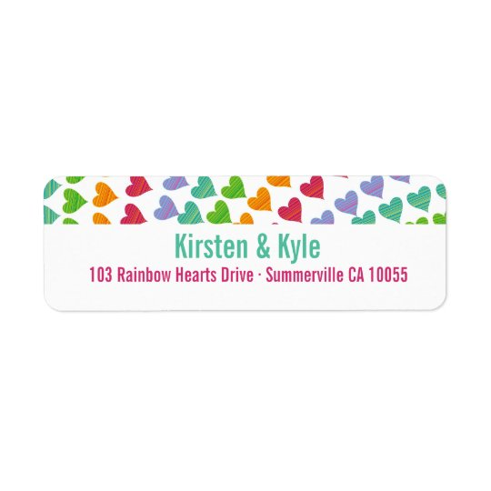 Whimsical Rainbow Heart Sprinkles Address Labels