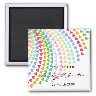 Whimsical Rainbow Heart Sprinkles Save The Date Magnet