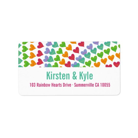 Whimsical Rainbow Hearts Sprinkles Address Labels