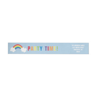 Whimsical Rainbow Wrap Around Address Label