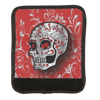 Whimsical Red and Silver Floral Sugar Skull Luggage Handle Wrap