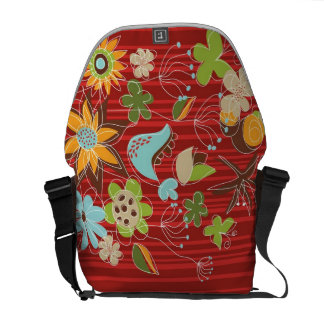 Whimsical Red Floral Garden Flowers Nature Art Bag Courier Bag