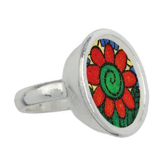Whimsical Red Flower Ring