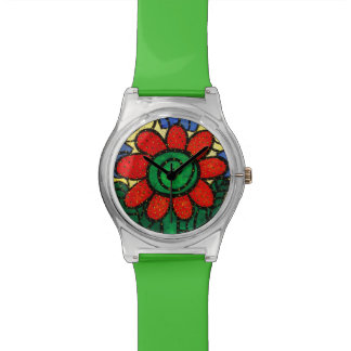 Whimsical Red Flower Watch