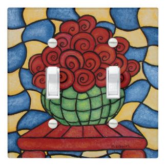 Whimsical  Red Flowers Light Switch Cover